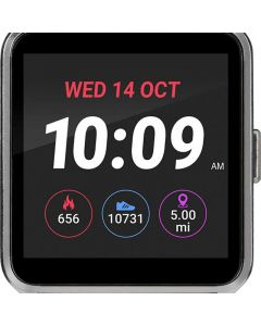 iConnect by Timex Rectangle Silver-Tone Case Digital Dial White Silicone Strap Smartwatch