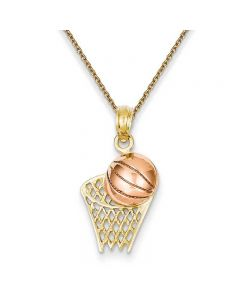 Basketball Hoop with Ball Pendant Necklace in 14K Yellow & Rose Gold