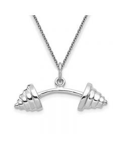 Barbell Weights Pendant Necklace in 14K White Gold